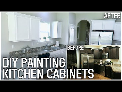 DIY PAINTING KITCHEN CABINETS   BEFORE AND AFTER KITCHEN TRANSFORMATION