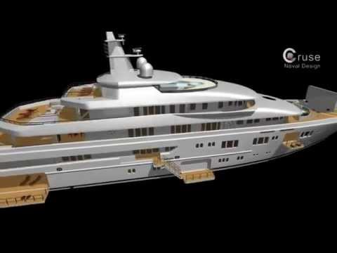 90m Mega Yacht Project by Cruse Naval Design   YouTube