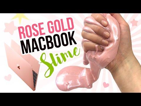 DIY Rose Gold MACBOOK Slime!! Metallic DIY Slime Inspired by New Pink 12 Inch Macbook