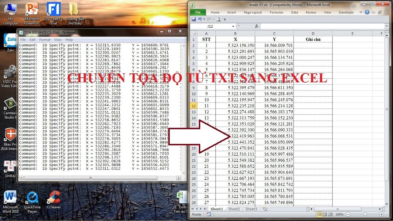 Thủ thuật chuyển nhanh tọa độ từ file TXT sang fiel EXCEl, tách số liệu theo cột