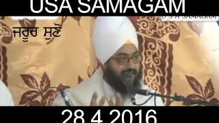 USA Samagam 28_4_2016 Baba Ranjit Singh Ji Khalsa Dhadrianwale