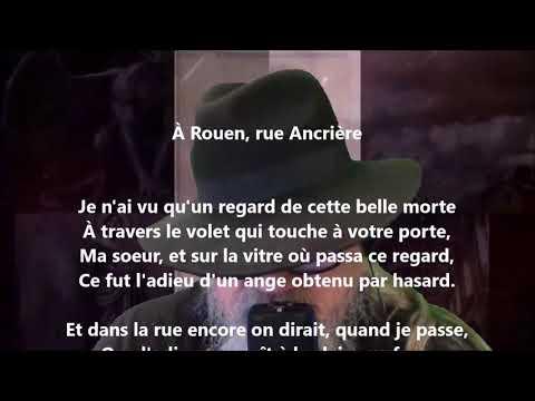 À Rouen, rue Ancrière - Marceline Desbordes-Valmore lu par Yvon Jean
