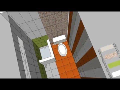 Desain kamar mandi 1,5 x 2,5 m2 menggunakan keramik Roman