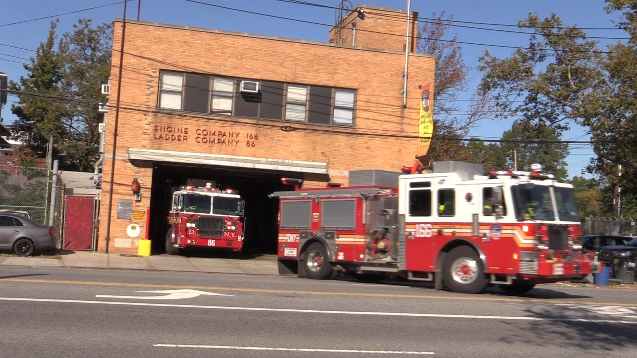 FDNY Engine 166 Tower Ladder 86 Responding Richmond Ave Firehouse Staten Island, NY Oct 15th ...