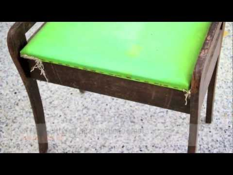 Piano Stool Restoration - Shabby to Chic, French Paris Fabric makeover