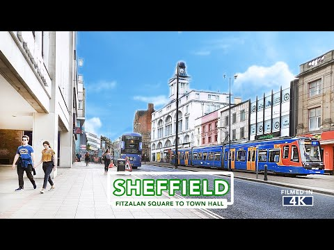 SHEFFIELD CITY TOUR | Fitzalan Square to Sheffield Town Hall in 4k
