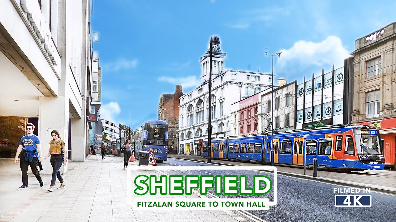 Download SHEFFIELD CITY TOUR   Fitzalan Square to Sheffield Town Hall in 4k