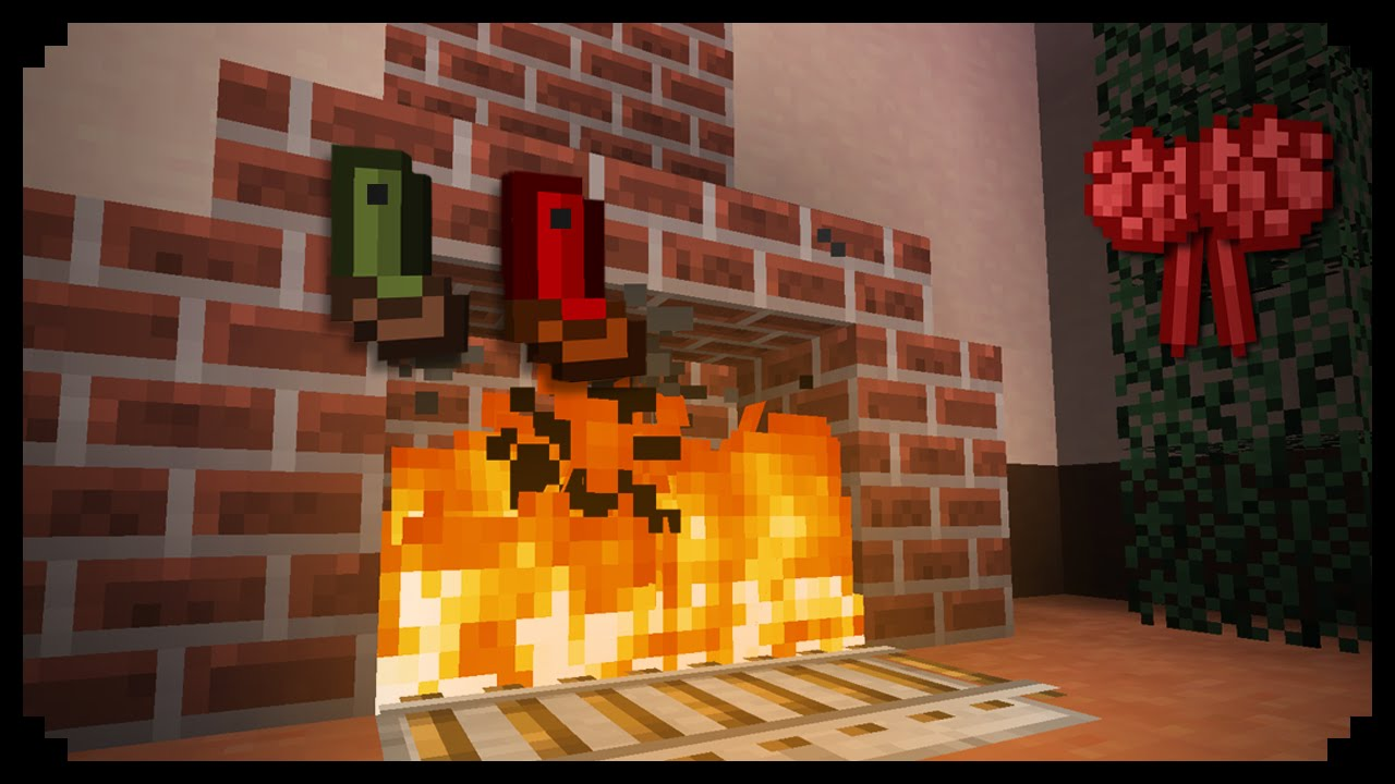 minecraft how to make a christmas fireplace youtube