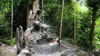 Free life: BATHING IN THE BATHTUB   Building a complete artificial waterfall in the forest - Ep. 42