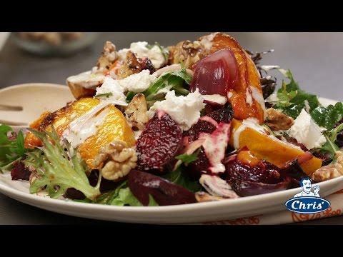 Warm Roast Pumpkin Beetroot Citrus And Goats Cheese Salad