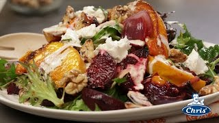 Warm roast pumpkin beetroot citrus and goats cheese salad