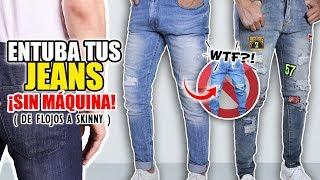 ENTUBA TUS PANTALONES A MANO | TRANSFORMA tus JEANS FLOJOS a SKINNY - FÁCIL Y RÁPIDO