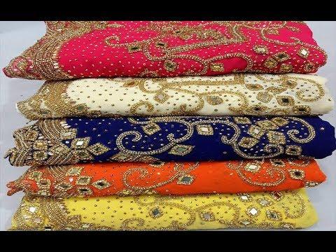 Hyderabad Zewar Handwork Fancy Designer Sarees    Fancy Border Designer Handwork Saree 2018