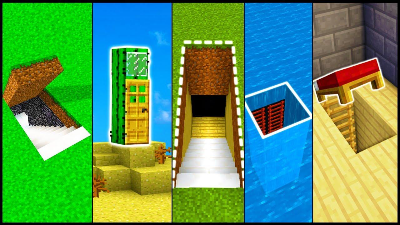 5 Minecraft Secret Base Entrances Build Hacks And Ideas Easy Tutorial
