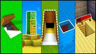 5 Minecraft Secret Base Entrances! - Build Hacks and Ideas (Easy Tutorial)