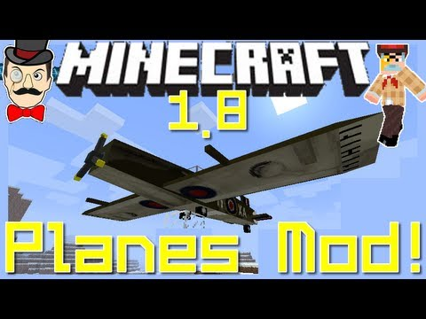 Minecraft Mods - PLANES Mod ! Fly Aircraft - Anti Air AA Guns, Spitfire & More!