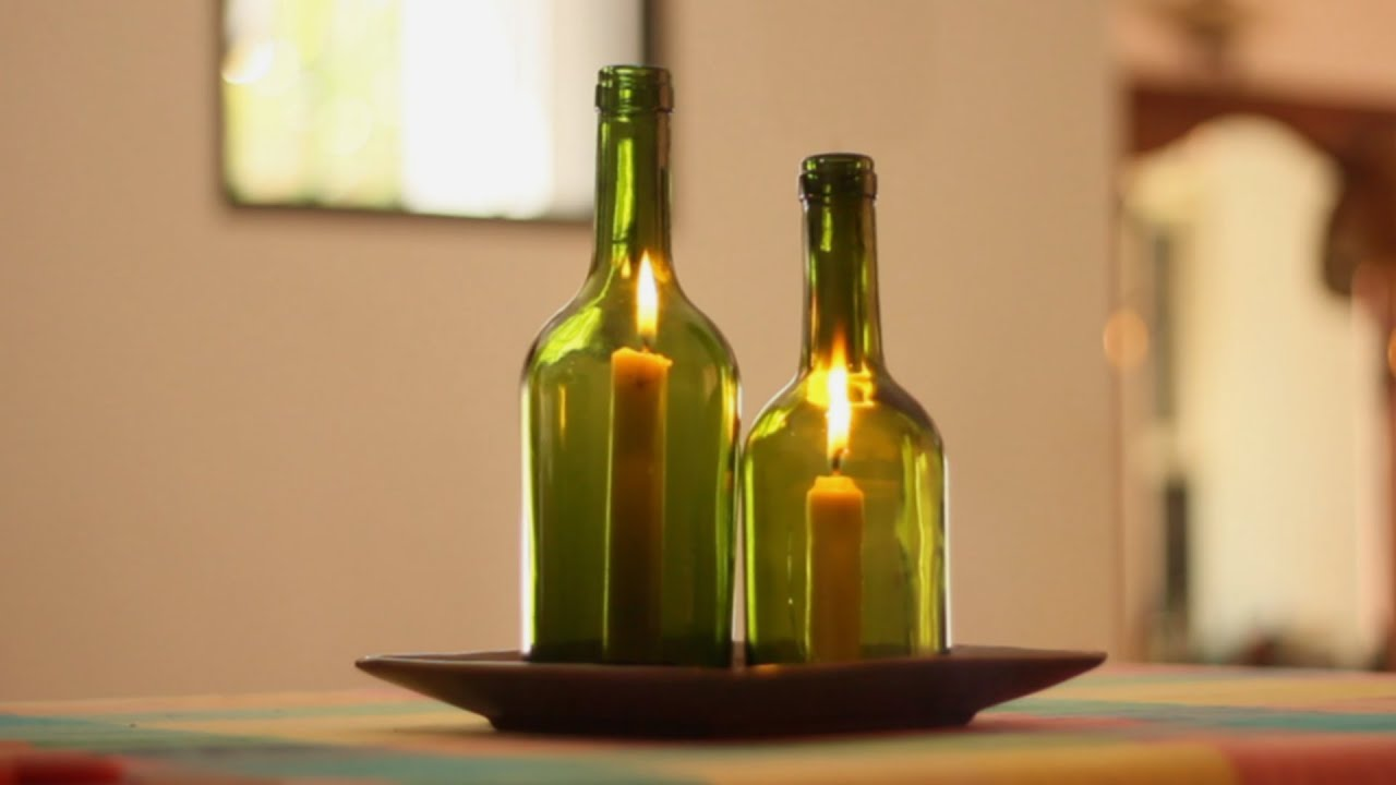Reciclado de botellas de vidrio para iluminar con velas