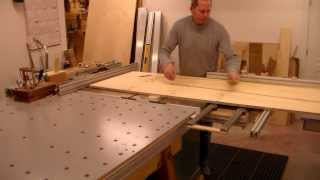 Work begins on the floor of the shuffleboard table.