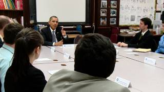 The President speaks to a bi-partisan group of college students