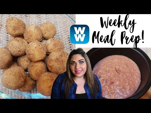 WEEKLY MYWW MEAL PREP   STRAWBERRY SHORTCAKE OATMEAL   CAKE BALLS   CHICKEN SALAD   WEIGHT WATCHERS!