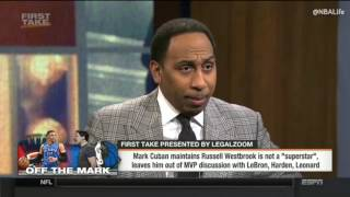 First Take HD - Mark Cuban Says Russell Westbrook is not an MVP by Stephen A Smith