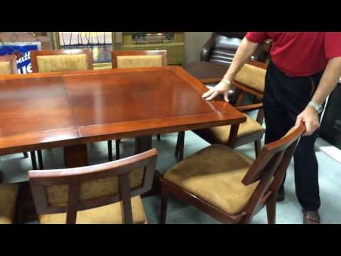Mid century modern style dining table and chairs solid wood and suede