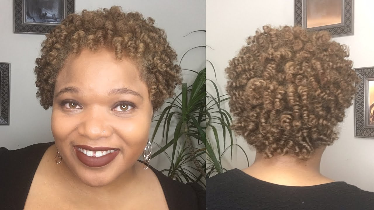 perm rod set on short natural hair (no heat) - youtube