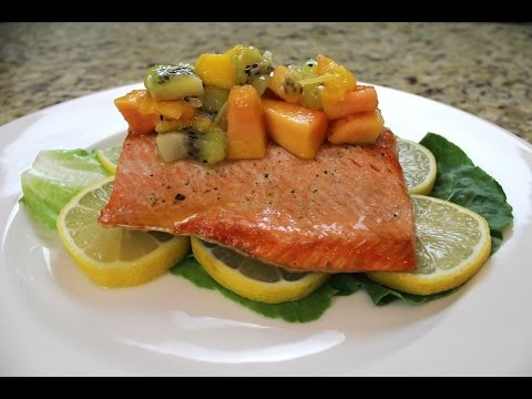 How to Make Himalayan Salt Block Grilled Salmon with a Tropical Fruit Chutney