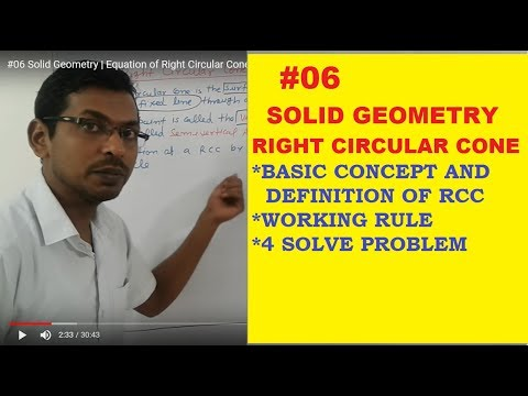 Solid Geometry-Equation of Right Circular Cone in Hindi, Basic definition of Right Circular Cone