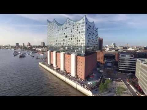 Hamburg Elbphilharmonie and Hafencity Aerial View 4k