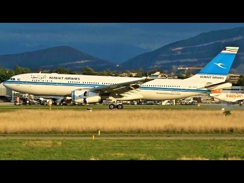 [FullHD] Kuwait Airways Airbus A330-200 landing & takeoff at Geneva/GVA/LSGG