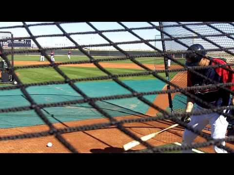 Cleveland Indians Grady Sizemore Hitting In The Cage At Spring Training 3.16.10