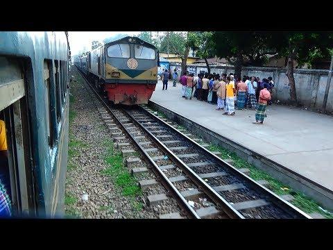 Two Local Trains of Bangladesh Railways Crossing at Tejgaon Railway Station