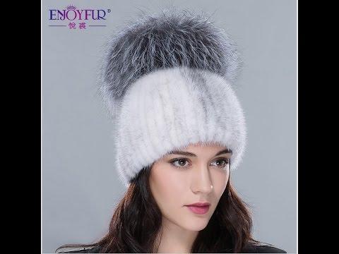 великопепная норковая вязанная шапка с большим помпоном из