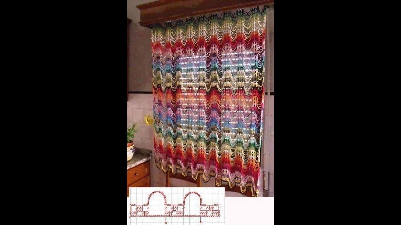 cortina De crochê colorido