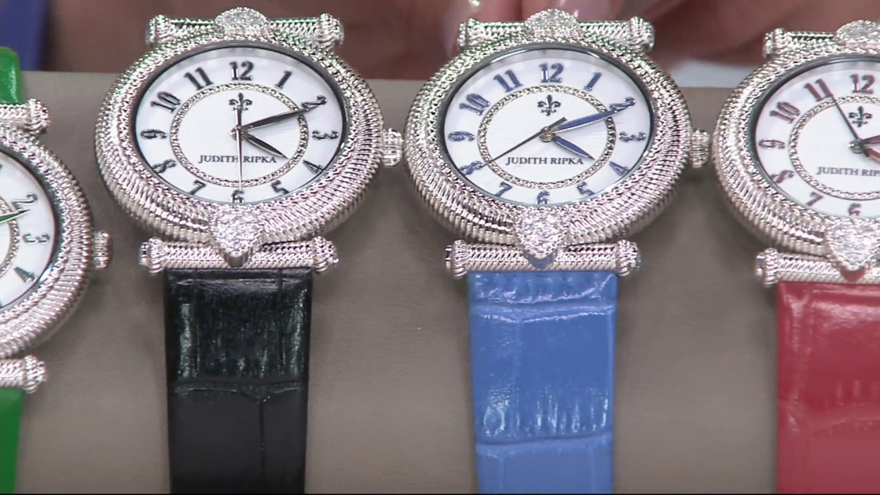 80b20406a77 Judith Ripka Stainless Steel Leather Parisian Watch on QVC - YouTube