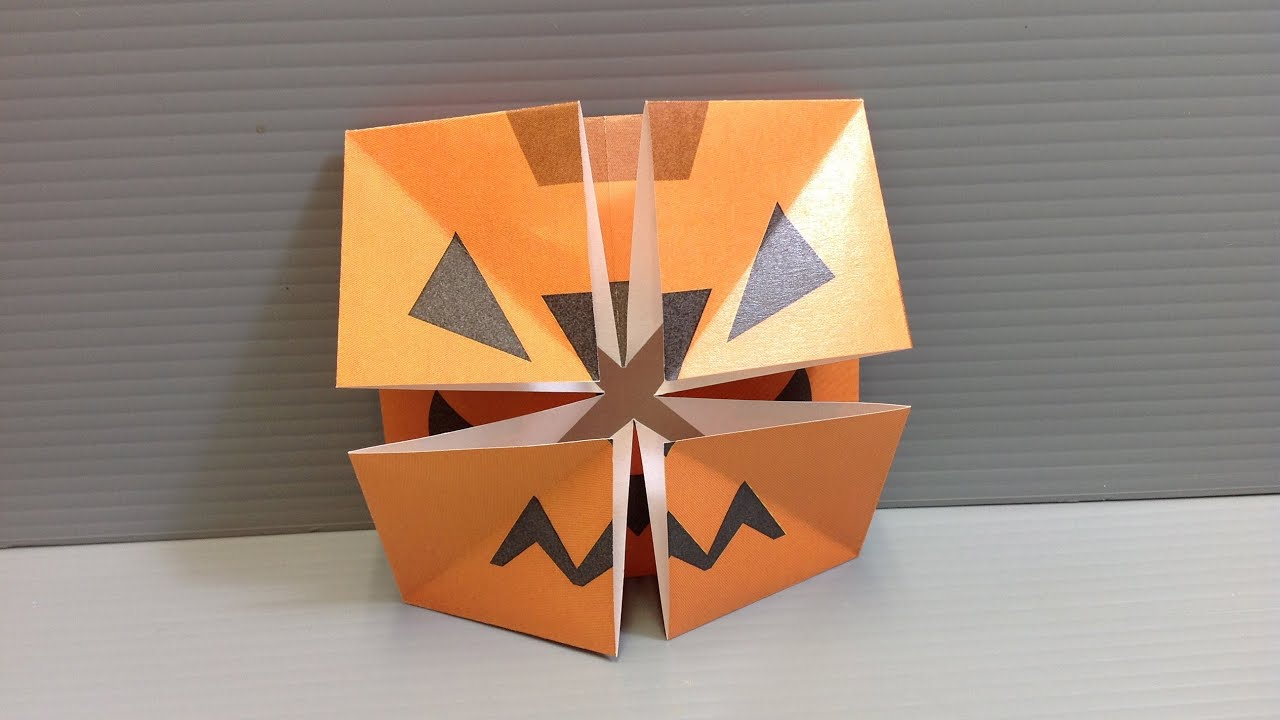 origami halloween pumpkin changing faces print your own