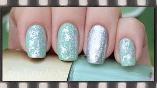 Голливудский маникюр фольгой | Silver Nail Art Foils(Видео-урок: Голливудский маникюр с помощью фольги. Для маникюра использовались: - мятный лак - прозрачный..., 2014-08-06T18:01:29.000Z)