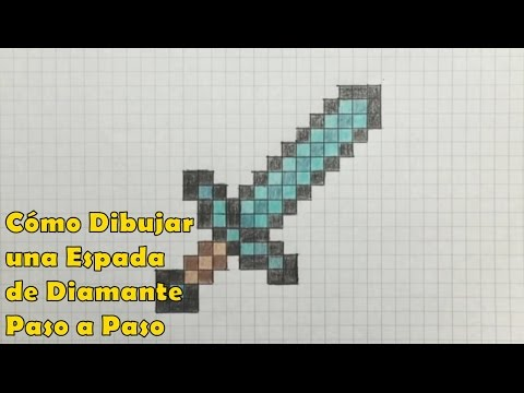 Cmo Dibujar una Espada de Diamante 8bit Minecraft Tutorial PASO