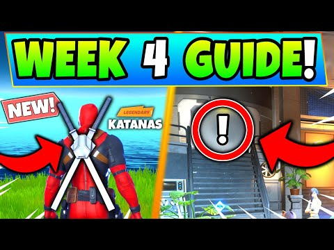 FORTNITE DEADPOOL WEEK 4 CHALLENGES: KATANAS & BACKBLING! - How To Get Deadpool Battle Royale