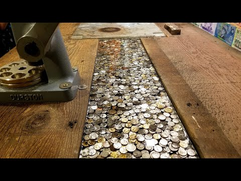 Making a Pour Epoxy Insert for my Desk with Coin Centers