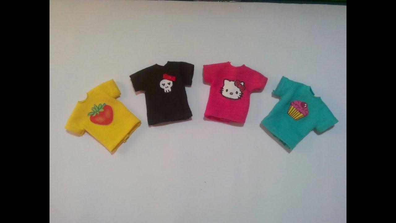 1e47367083 como fazer roupa de boneca  1 camisetas com estampas - YouTube