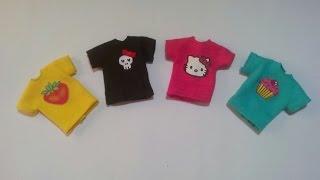 como fazer roupa de boneca #1 camisetas com estampas