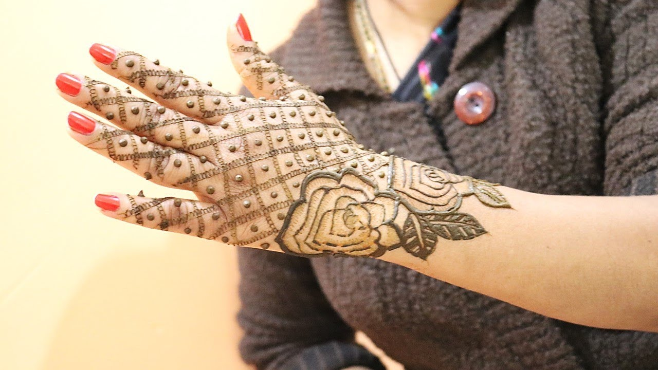 Back Hand Net Mehndi Design