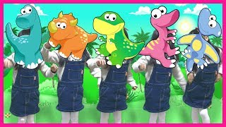 Five monkeys with dinosaurs Nursery Rhymes Song for kids songs & children 恐竜 子供のうた 공룡 동물 가면 인기 동요 놀이