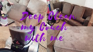 Clean with Me // Deep Cleaning my Couch // Bissell ProHeat 2X Revolution Pet Pro Carpet Cleaner
