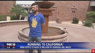 Marathon runner running from Phoenix to California, hopes to raise $1 million for charity