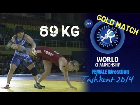 Gold Match - Female Wrestling 69 kg - A. FOCKEN (GER) vs S. DOSHO (JPN) - Tashkent 2014
