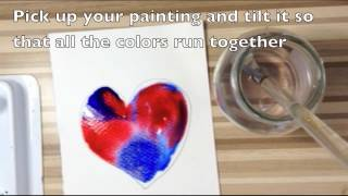 How to make watercolor blooming hearts for Valentine