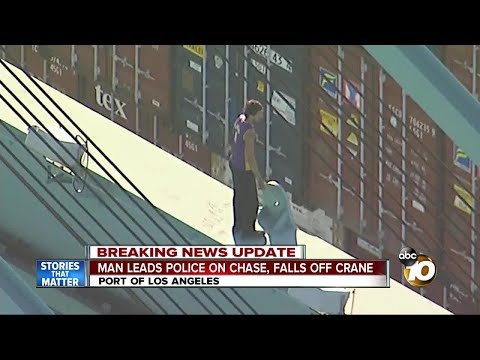 Man leads police on chase, falls to death off of crane